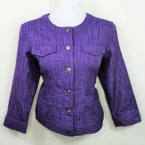 Ruby Rd Womens Purple Military Jacket Size 10